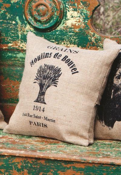 Farmhouse Grain Sack Printed Feed Sack Pillow