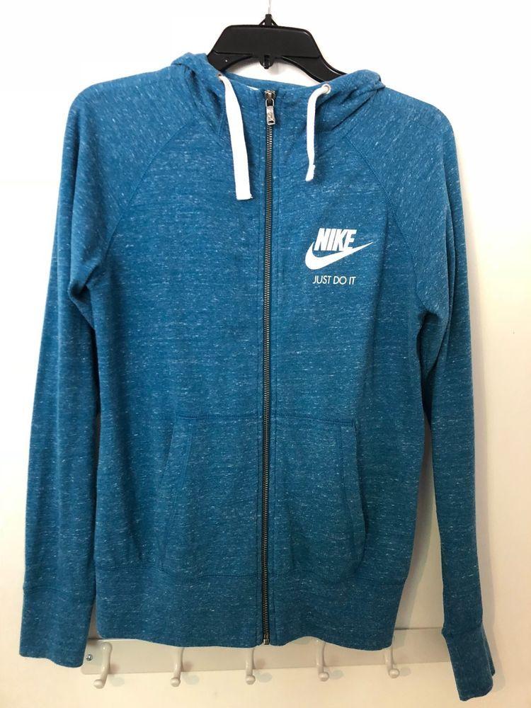 blue lightweight nike zip up hoodie sweatshirt womens S