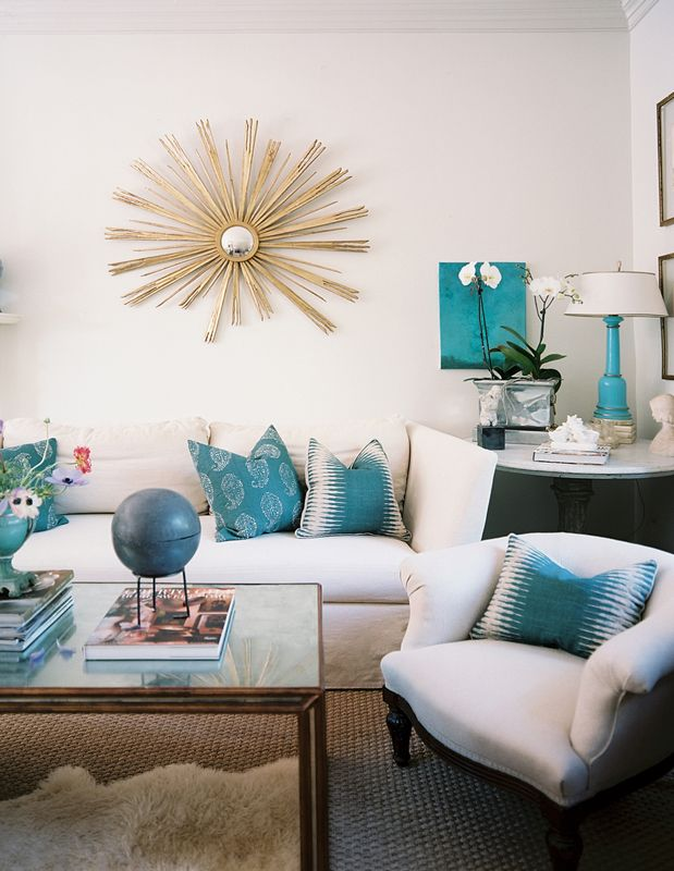 Pin On Haute Living Spaces #teal #and #white #living #room