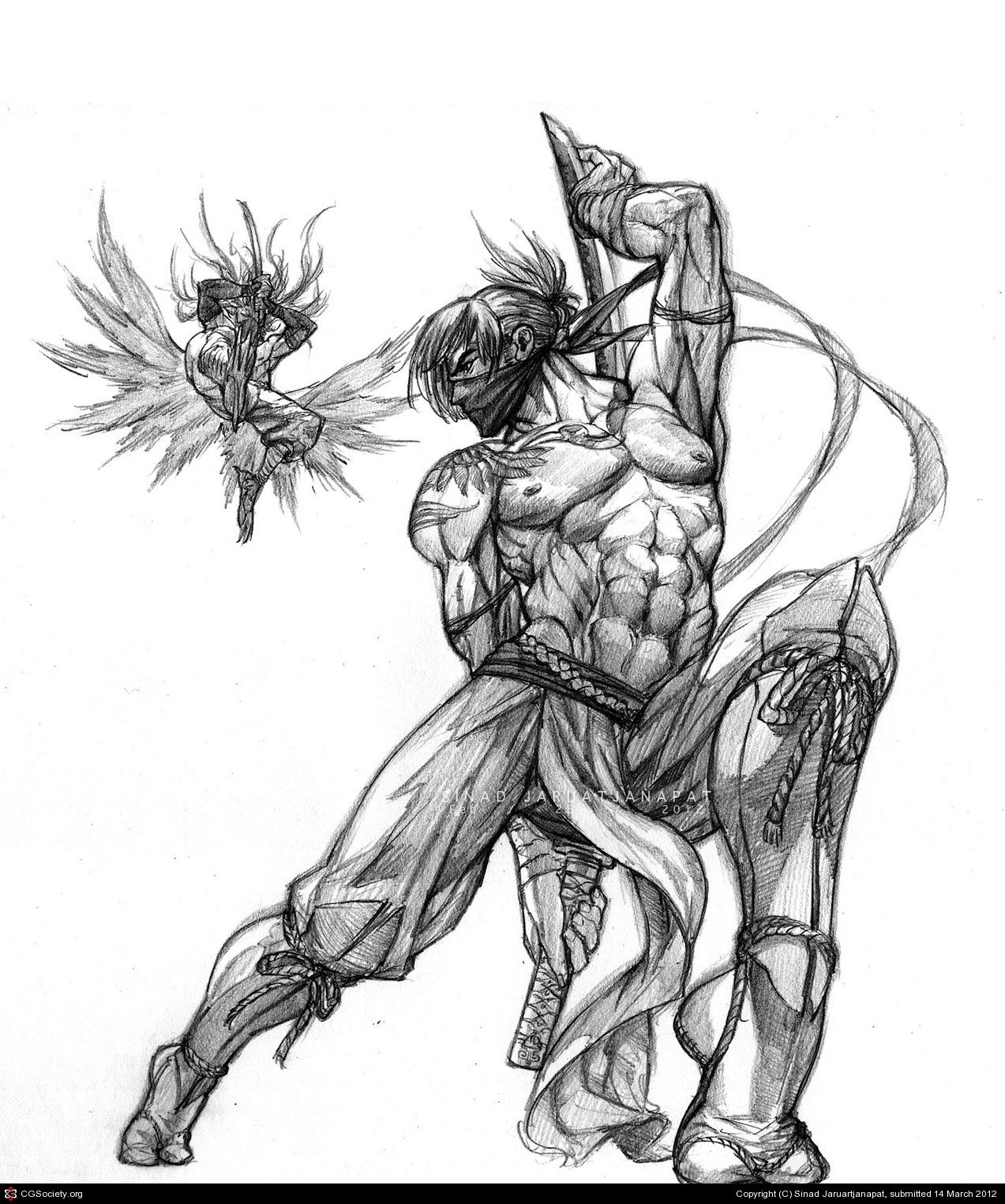 Ninja Drawing Pencil Sketch