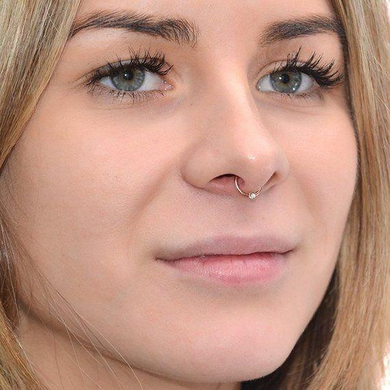 Septum Piercing Cartilage Earring Septum Hoop 2mm Light Blue Opal SEPTUM RING 14g  Silver Nose Ring Rook Piercing Nipple Ring