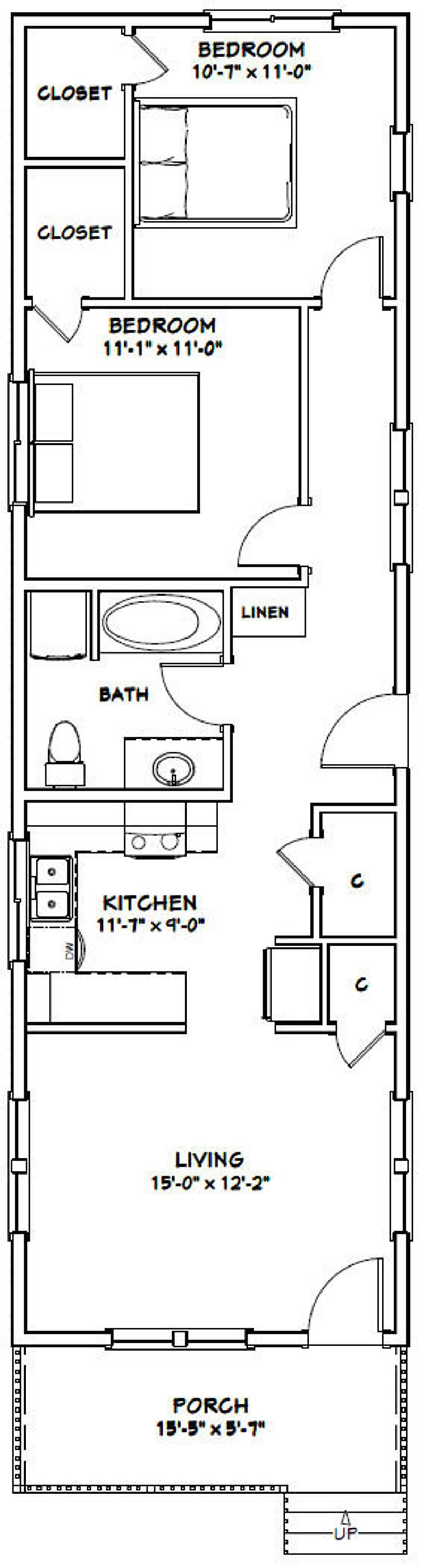 864 sq ft Model 1 2 Bedroom 1 Bath PDF Floor Plan 16x54 House
