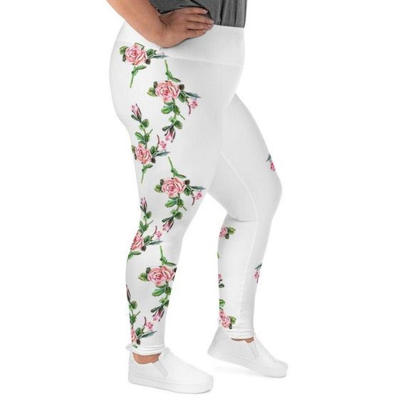 Photo of Personalized Plus size workout leggings 2XL-6XL, custom high waist leggings for women with pink roses print , Plus size leggings with name