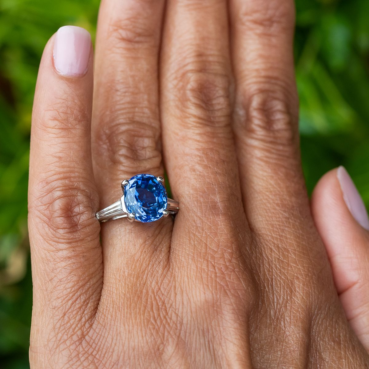 Blue Sapphire Ring Stunning 5 Carat W Tapered Baguette Diamonds In 2020 Engagement Rings Sapphire Sapphire Engagement Ring Blue Amethyst Jewelry
