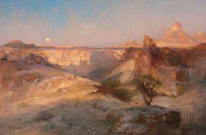 Sunrise Landscape - (Thomas Moran)