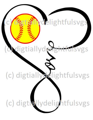 6f98456345a6c Love Softball Heart Infinity Symbol