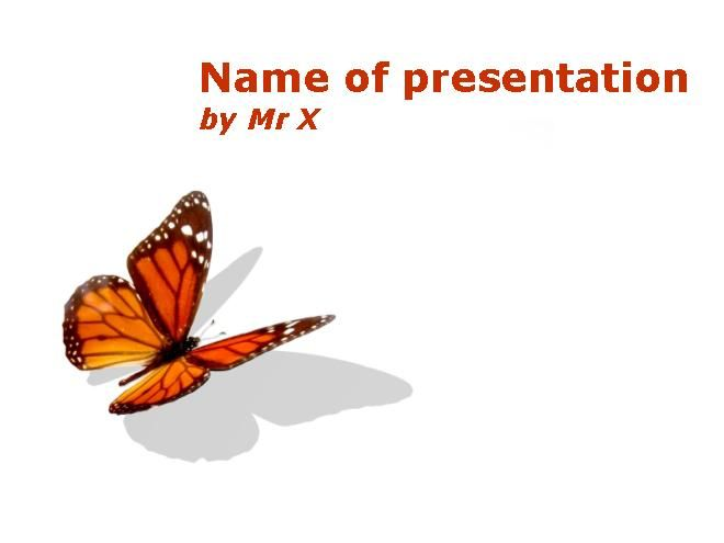 Orange Butterfly Insect Design Powerpoint Template - wedding powerpoint template