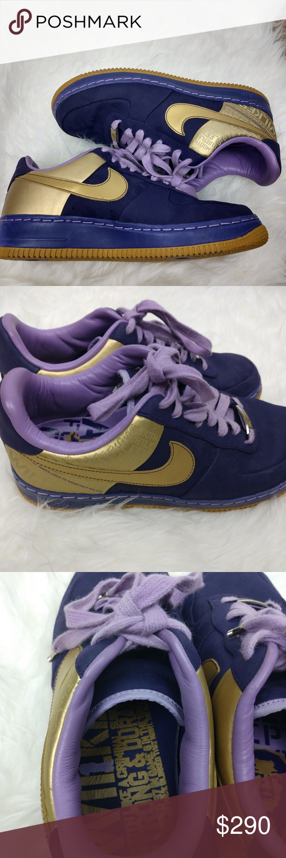 huge selection of ce53c f1c1a New Rare Nike Air Force One Wilkes Sneakers Gold New Nike Air Force One  Wilkes Purple  Gold Collectors sneakers. Brand new never worn!