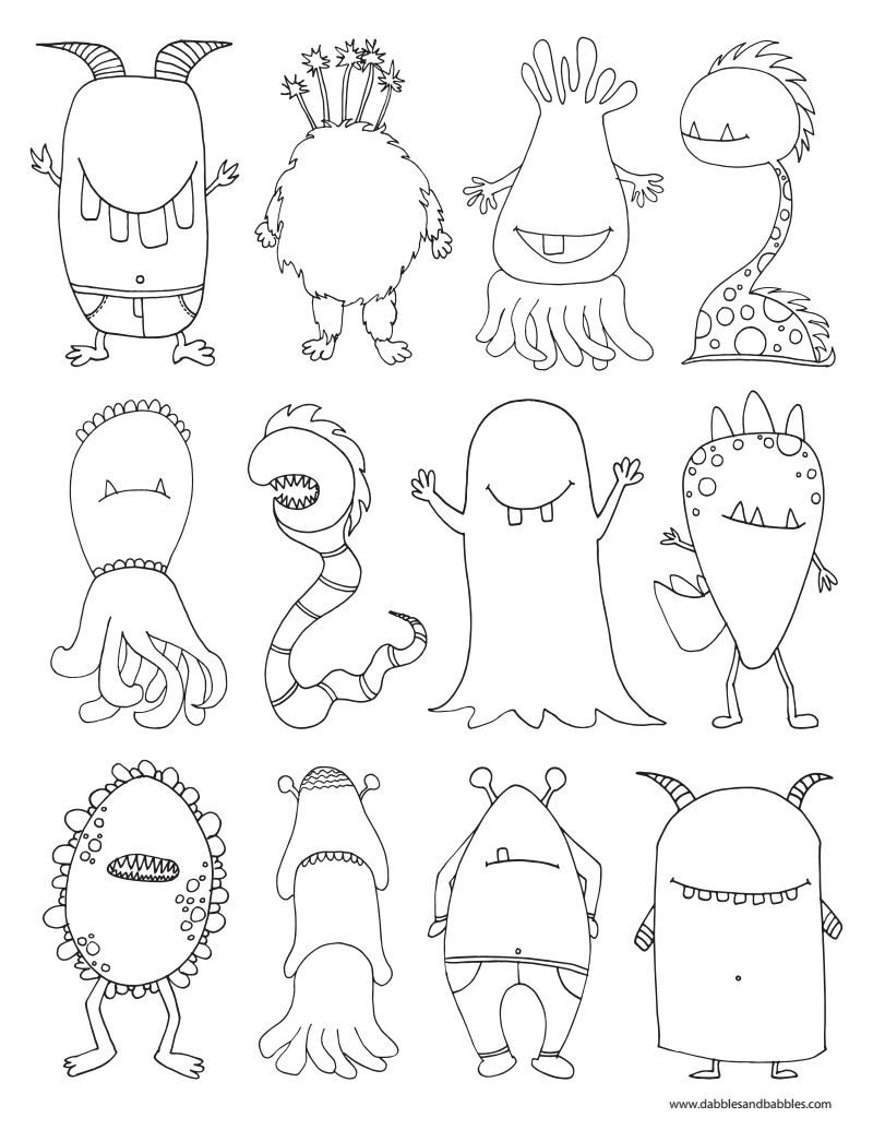 monters coloring page pdf halloween food u0026 crafts pinterest