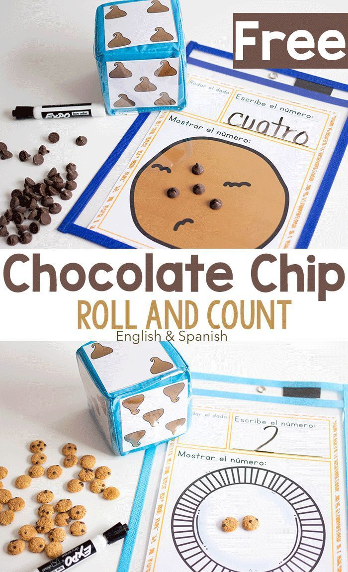 Chocolate Chip Roll and Count Activity (English/Spanish