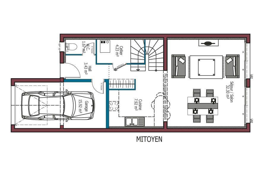 Modele Urbis Plan Maison Mitoyenne A Etage Avec 4 Chambres Et Garage Maison A Etage Personnalisable 4 Chamb Plan Petite Maison Maison Mca Maison Mitoyenne
