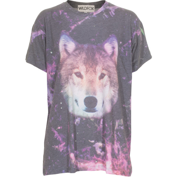 WILDFOX Night Wolf Multi Oversize T-shirt with print found on Polyvore
