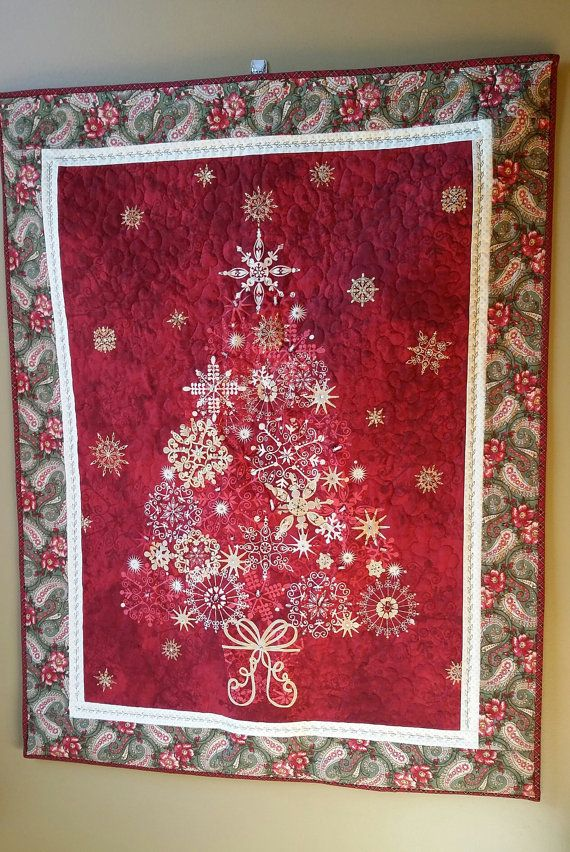 Quilted Christmas Tree Wallhanging in Traditional Red by djwquilts
