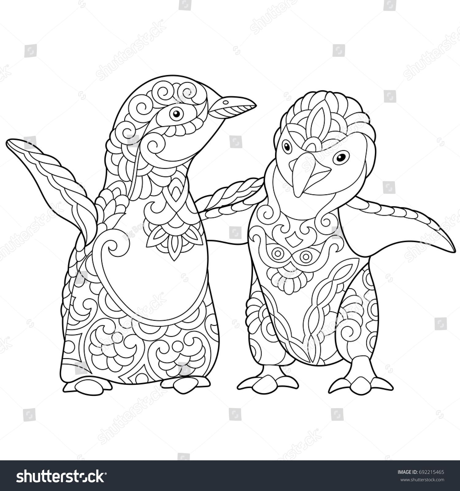 Coloring page of young emperor penguins, isolated on white