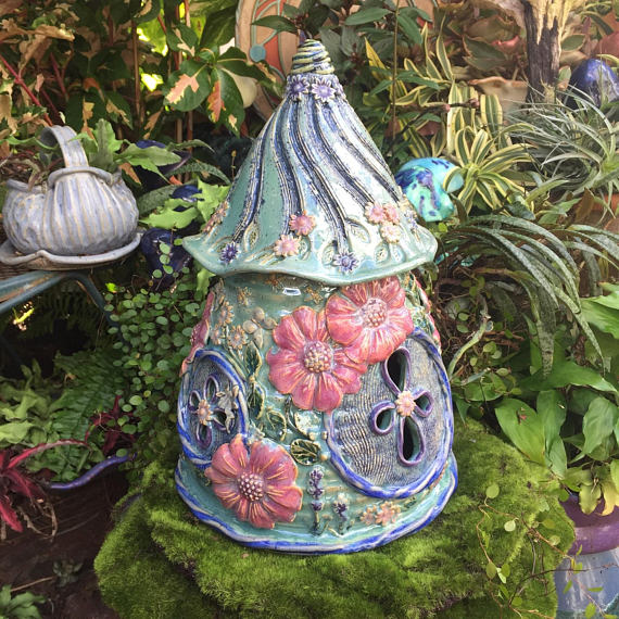 Large Ceramic Floral Fairy House Outdoor Fairy Garden Home