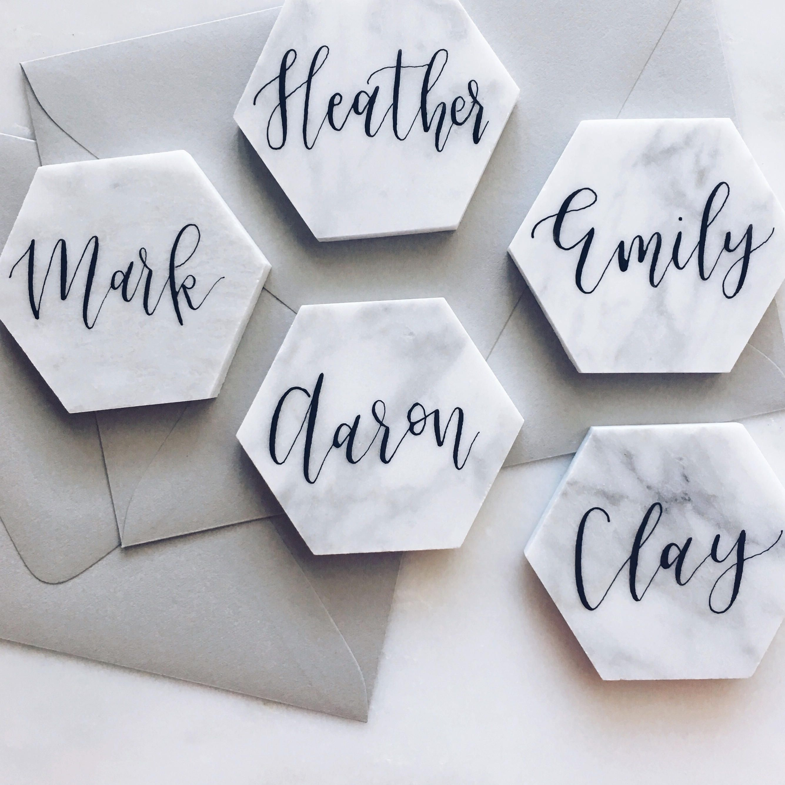 These Marble Tile Place Cards Are Surprisingly Chic | Place cards ...