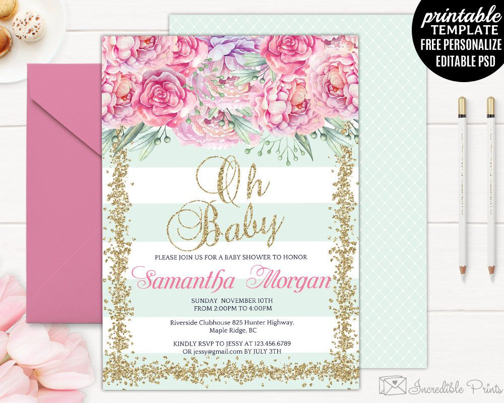 Mint Baby Shower Invitation Template Printable Pink Floral Girl - Pink baby shower invitation templates