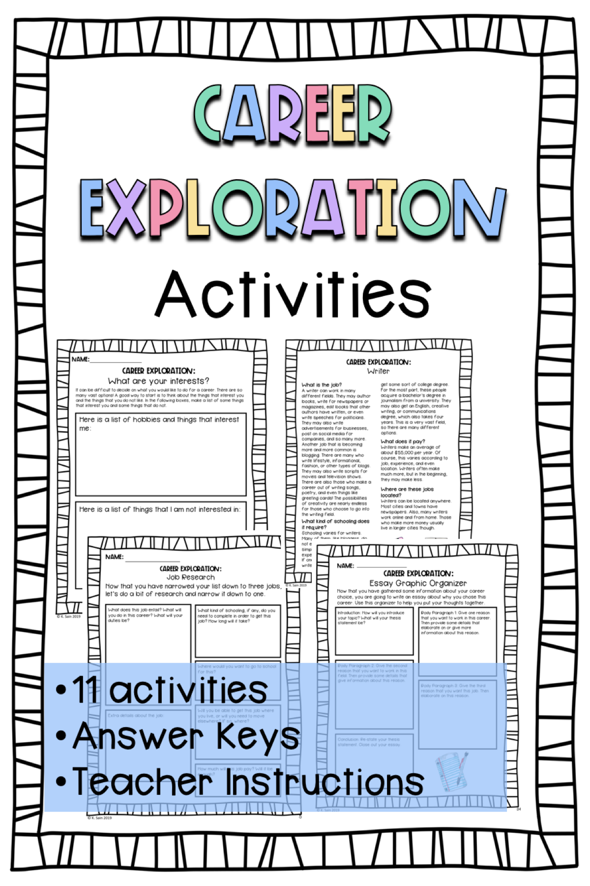 Career Exploration Activities For Middle School Grades 4