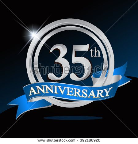 35th Anniversary Logo With Blue Ribbon 35 Years Anniversary Signs