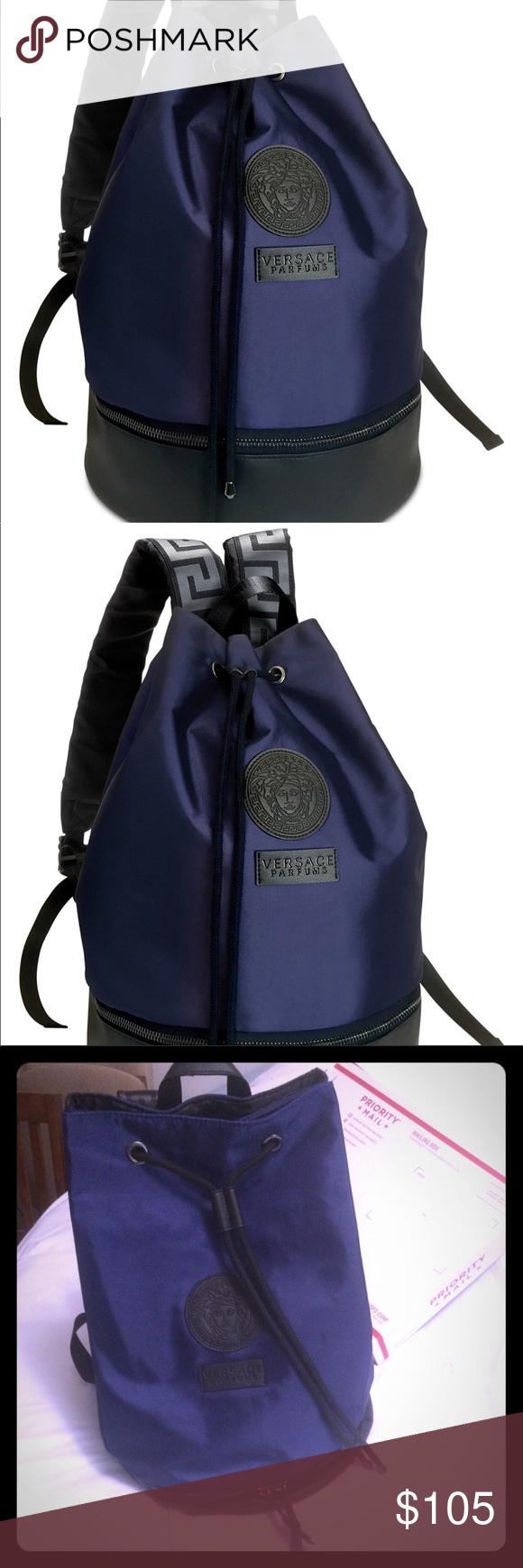 Versace Backpack Satin New Blue Black Bag Versace Backpack Versace Blue Versace
