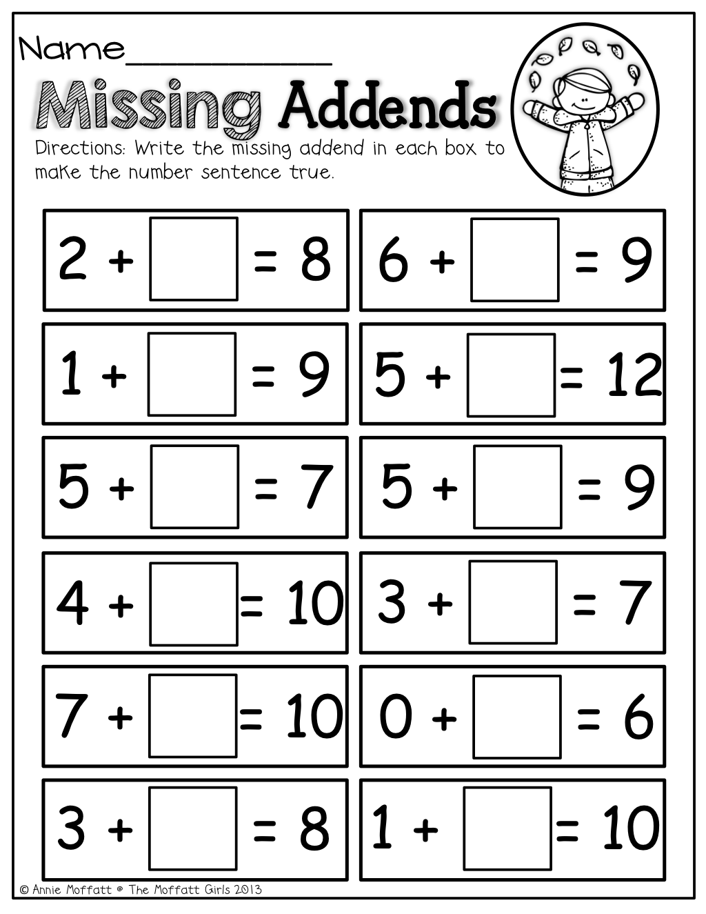 Missing Addends!   First grade math worksheets [ 1325 x 1024 Pixel ]