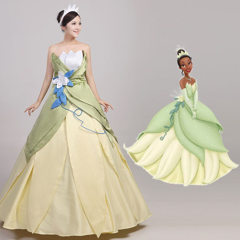 Cosplay The Princess and the Frog Gown Princess Tiana Evening Dress ...
