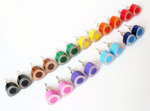 Color Pencil Ear Studs Triangle Jewelry In Candy Colors Handmade England By Huiyi Tan