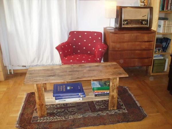 DIY Pallet Coffee Table With Book Storage Book Storage Pallet - Coffee table with book storage