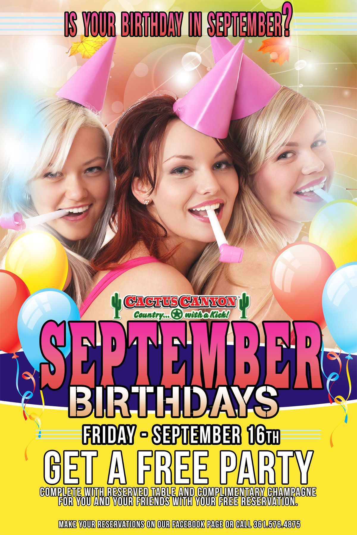 B day poster designs - New September Birthday Poster Design For Cactus Canyon In Victoria