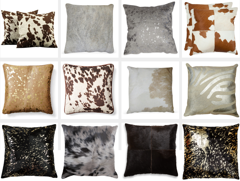 COWHIDE PILLOW COVER BLACK AND WHITE Cushion One Side with Leather Backing Cover
