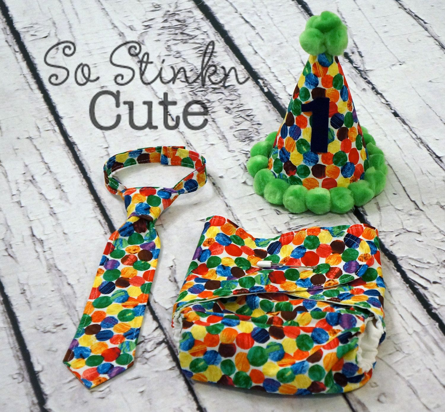 Matching Diaper Cover Hat And Tie For 1 Year Sessions The Very Hungry Caterpillar Custom Baby Boy Birthday Etsy