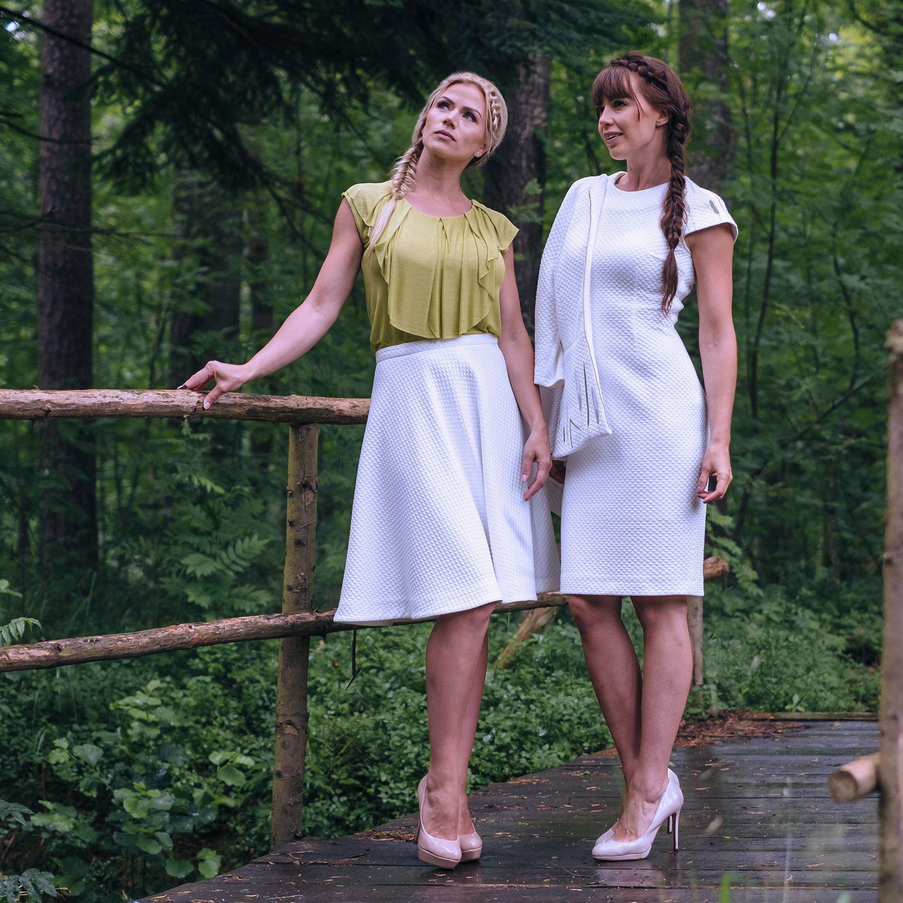 KiRiVOO HIRSS Organic Cotton Dress, RUKIS Skirt and NISU organic silk blouse.