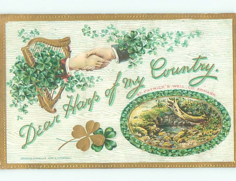Unused Pre-Linen HANDSHAKE AND HARP AND SHAMROCKS AND ST. PATRICK'S WELL k7863
