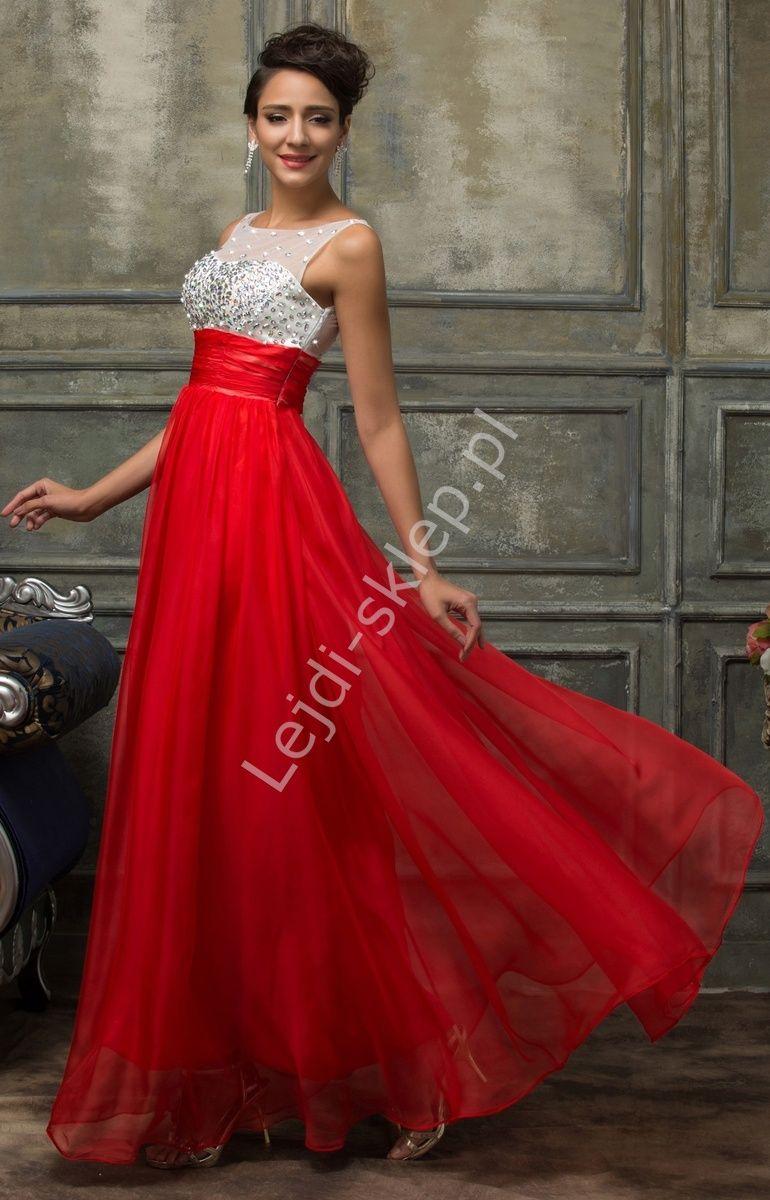 06ee58f0 Czerwona suknia z kryształkami | sukienka na wesele, sylwestra ...
