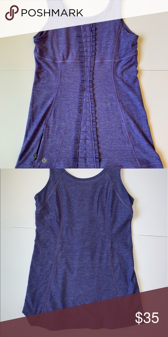 Lululemon top Purple. Ruffle back detail. Like new condition. TT47. lululemon athletica Tops Tank Tops