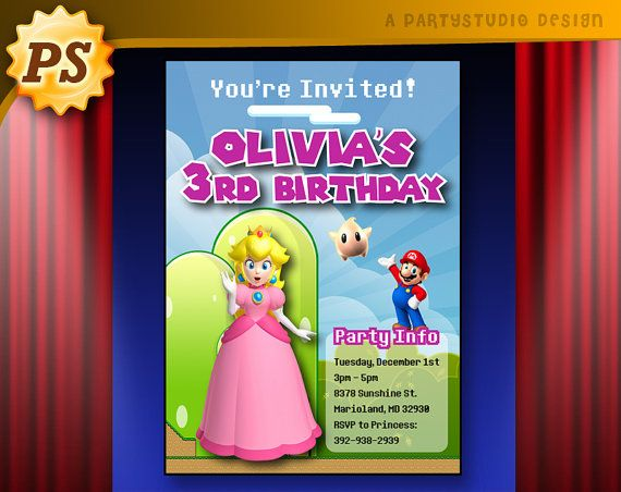 Personalized Princess Peach Birthday Party Invites By Partystudio 1500