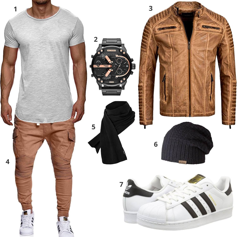 style mode fashion herrenmode m nner adidas diesel lederjacke looks pinterest. Black Bedroom Furniture Sets. Home Design Ideas