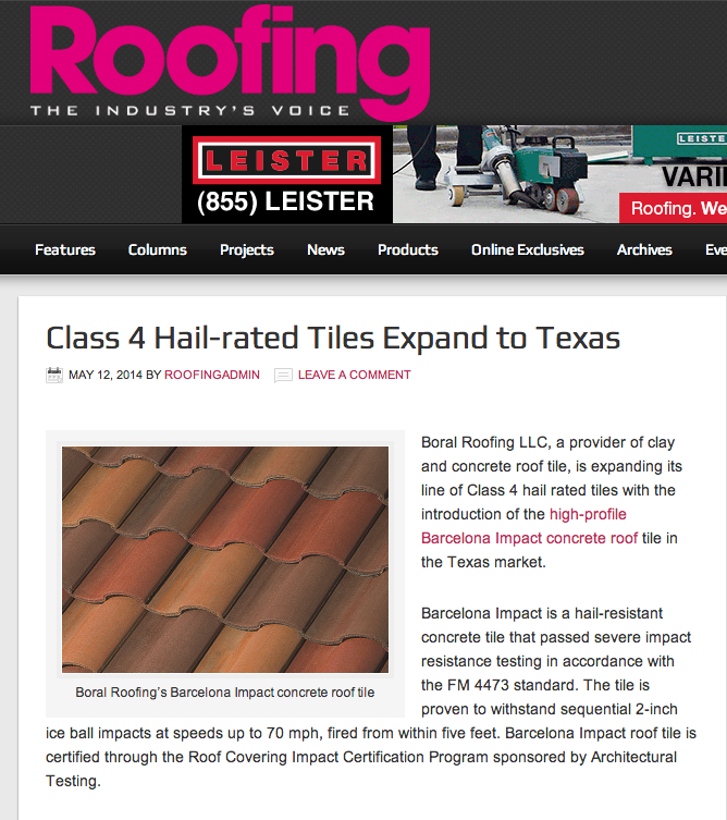Boral Roofing Featured In Roofing Magazine Newground Co Roofing Concrete Roof Tiles Magazine