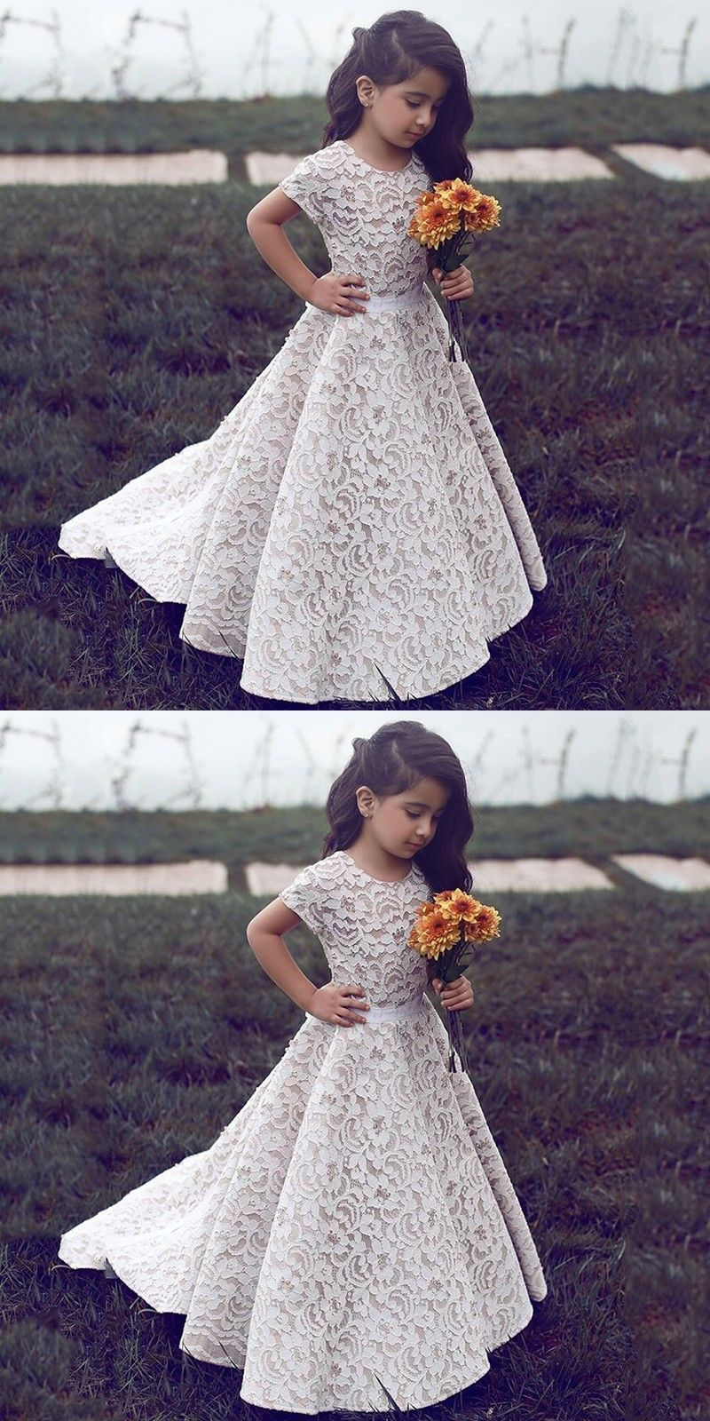 Cute Short Sleeve Ivory Lace Flower Girl Dress With Train From
