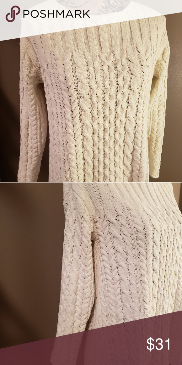 J.Jill Super Soft Cable Knit Sweater J.Jill cream colored sweater with a boat  neck adee42a03