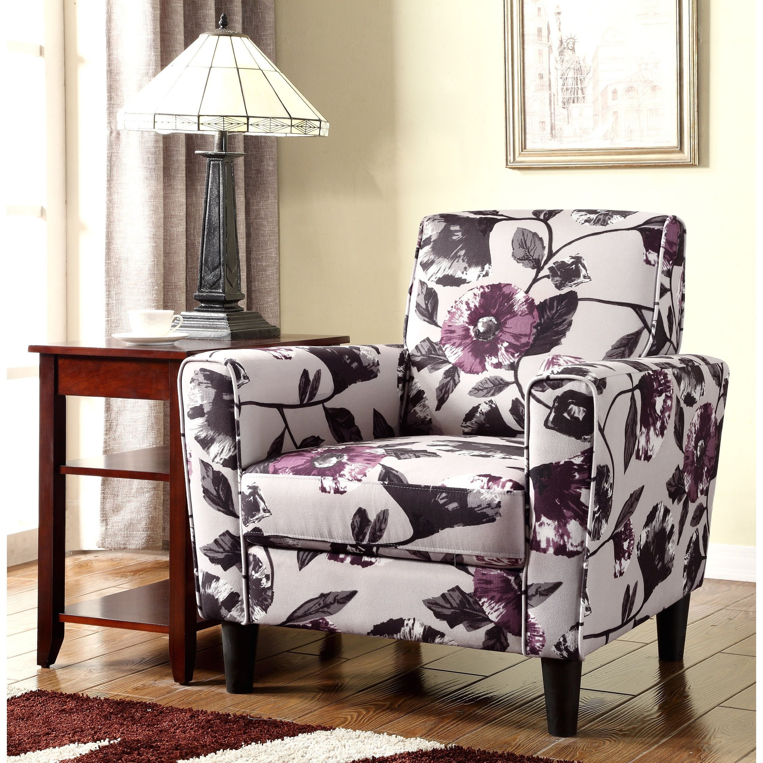 Remarkable Modern Flower Pattern Fabric Accent Arm Chair Purple Gamerscity Chair Design For Home Gamerscityorg