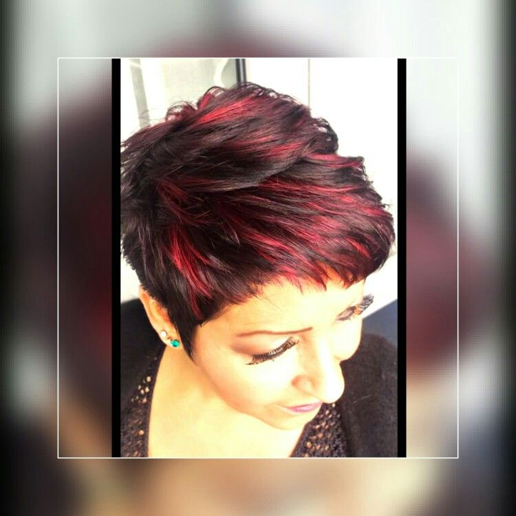 Short Hair For Women Red Highlights Brown Pixie Hair Short Hair Styles Red Highlights In Brown Hair