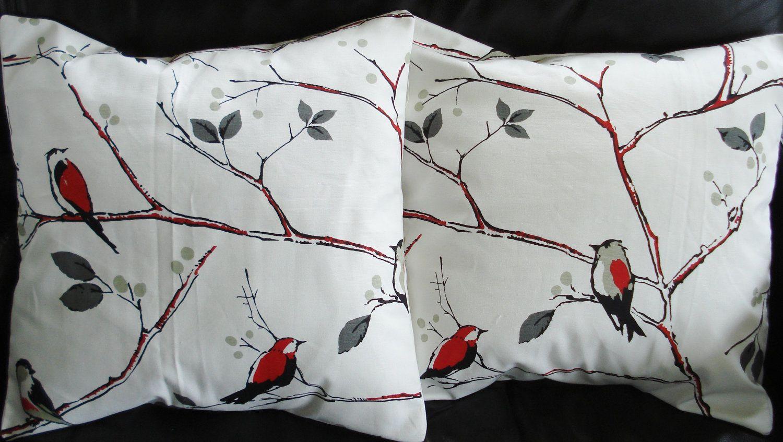 Throw pillow covers red silver grey gray birds design cushion shams