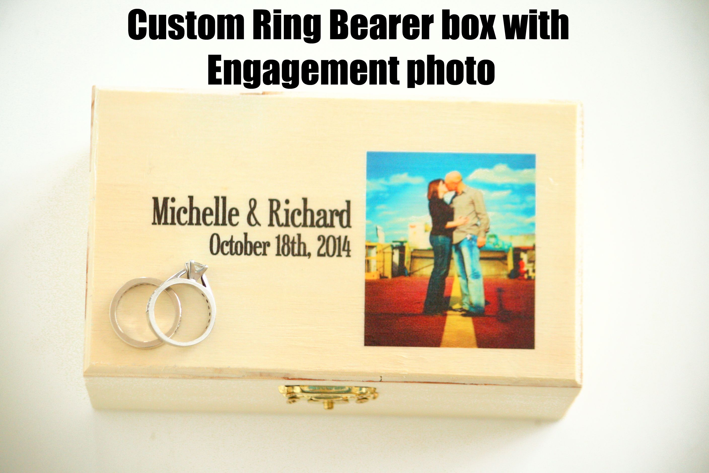 Customized ring bearer box with your engagement photo!  From Little Wee Shop on Etsy.  https://www.etsy.com/shop/LittleWeeShop?ref=si_shop