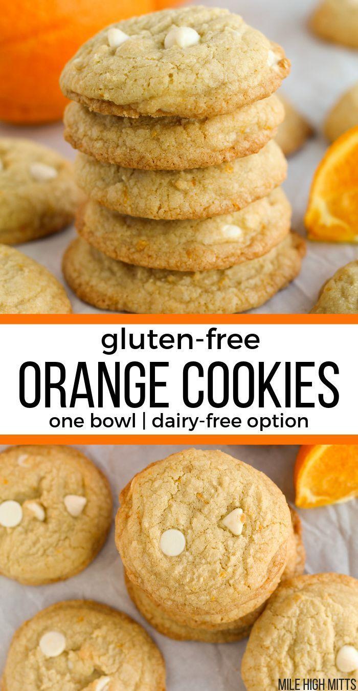 Sweet, gluten-free Orange Cookies filled with orange zest ...