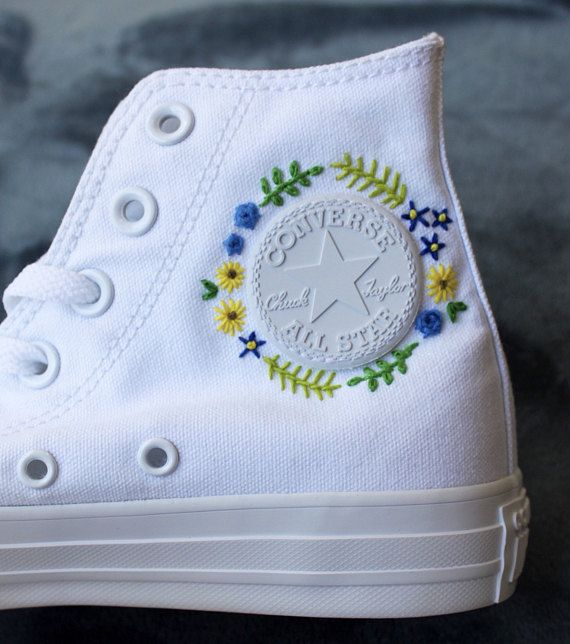 Floral Embroidered Custom Converse (With images