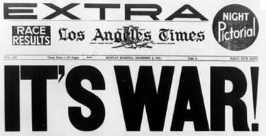 This Picture Is Of An Old Los Angeles Times Headline The U S Declared War Congress Is Allowed To Do This Reality Novelty Sign Time