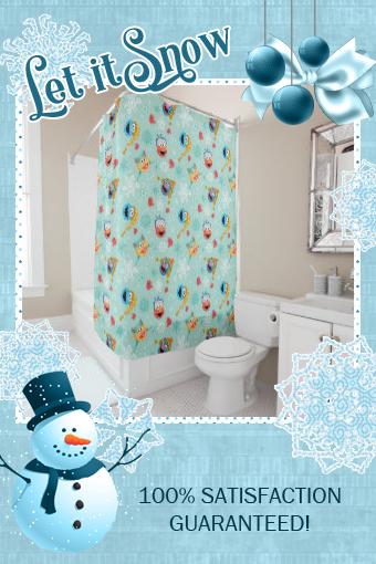 Sesame Street Winter Pattern Shower Curtain Zazzle Com