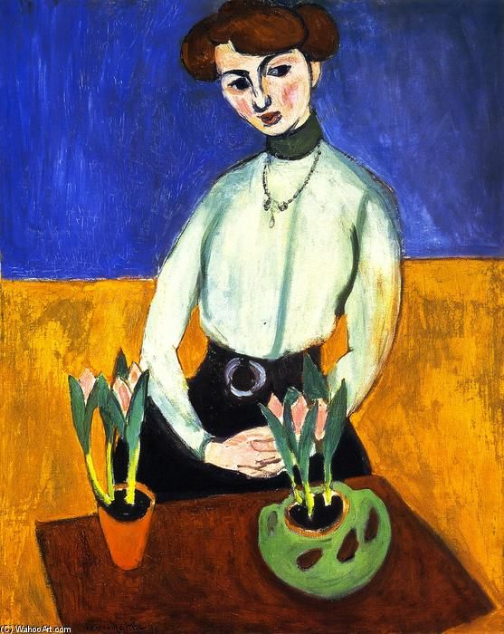 acheter tableau 39 fille avec tulipes 39 de henri matisse achat d 39 une reproduction sur toile. Black Bedroom Furniture Sets. Home Design Ideas