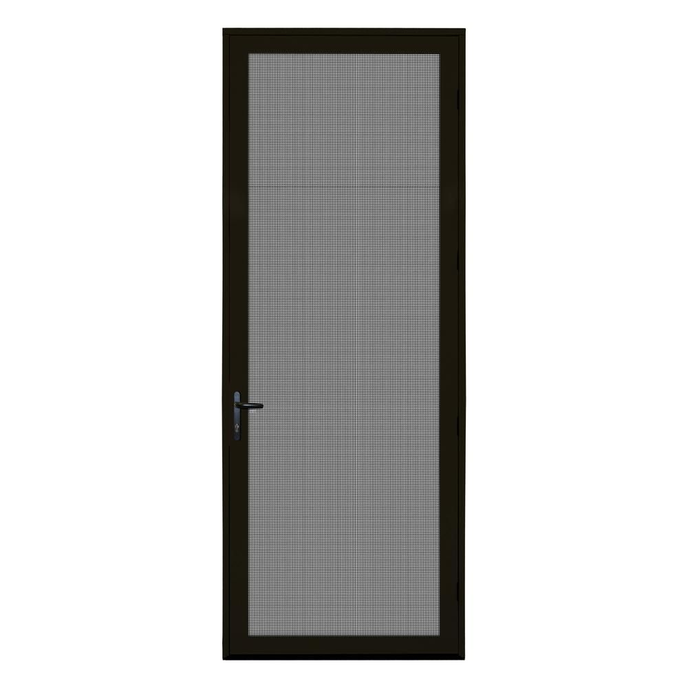Unique Home Designs 36 In X 96 In Bronze Surface Mount Right Hand Ultimate Security Screen Door With Meshtec Screen 5v0002em1bz00b Security Screen Door Unique House Design Screen Door